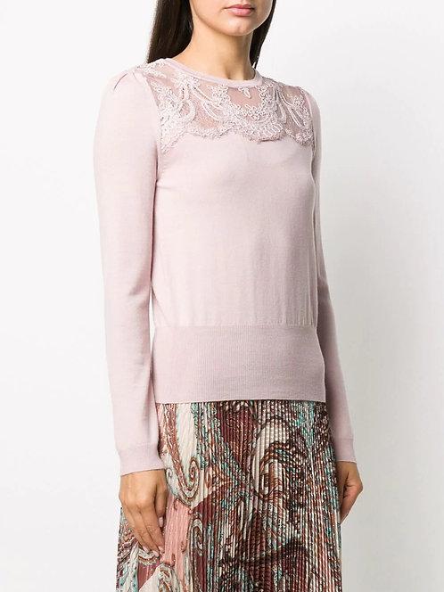 BLUMARINE Fine knit sweater with lace