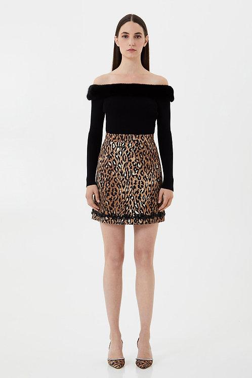 BLUMARINE Leopard mini skirt