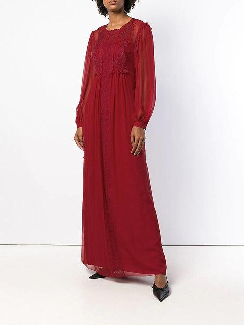 long dress with lace alberta ferretti italian silk