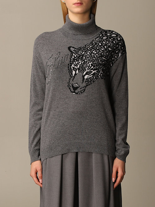 BLUMARINE Sweater with leopard embroidery