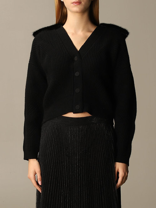 BLUMARINE Short cardigan with mink fur