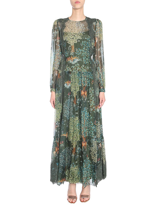 dress with print and lace alberta ferretti luxury