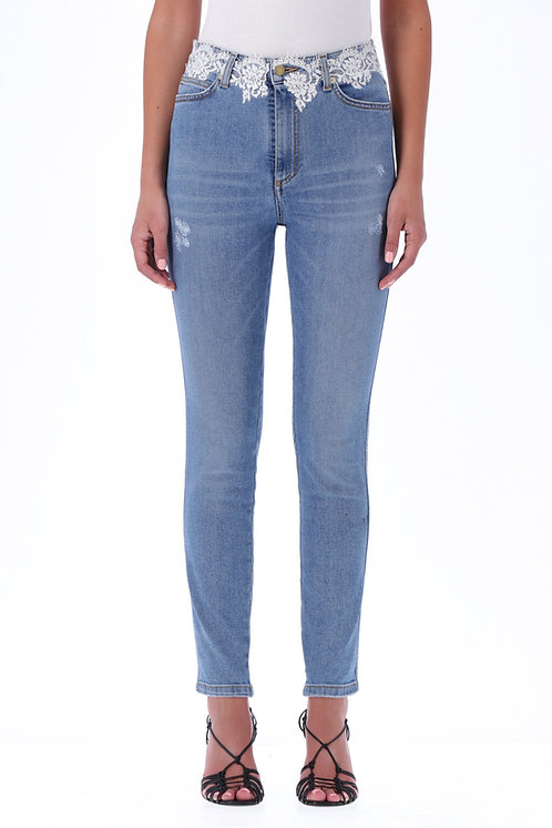 ERMANNO FIRENZE Slim jeans with lace
