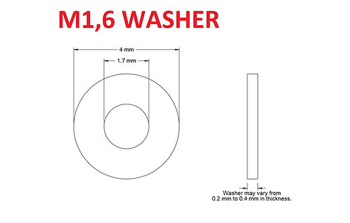 M1,6 WASHER - 25pcs