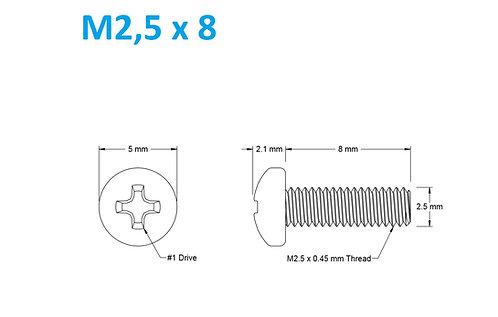 M2,5x8 Button Phillips - 25pcs