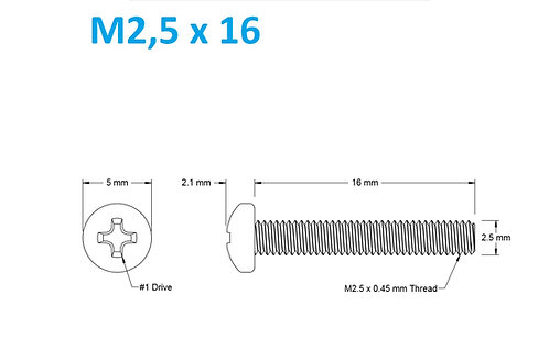 M2,5x16 Button Phillips - 25pcs