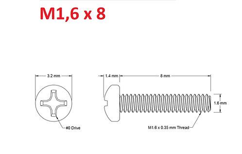 M1,6x8 Button Phillips - 25pcs