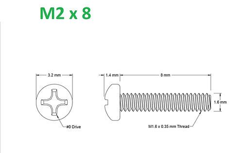 M2x8 Button Phillips - 25pcs