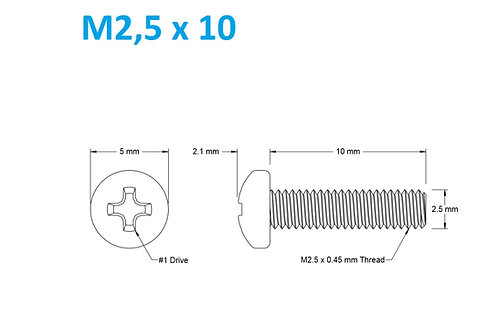 M2,5x10 Button Phillips - 25pcs
