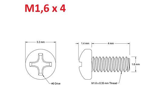 M1,6x4 Button Phillips - 25pcs