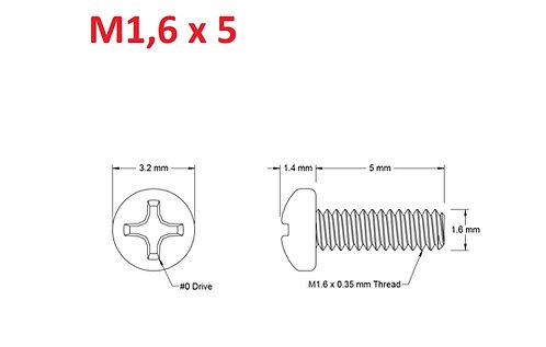 M1,6x5 Button Phillips - 25pcs