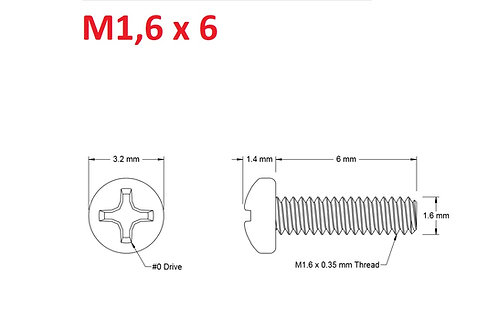 M1,6x6 Button Phillips - 25pcs