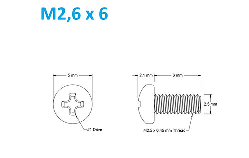 M2,5x6 Button Phillips - 25pcs