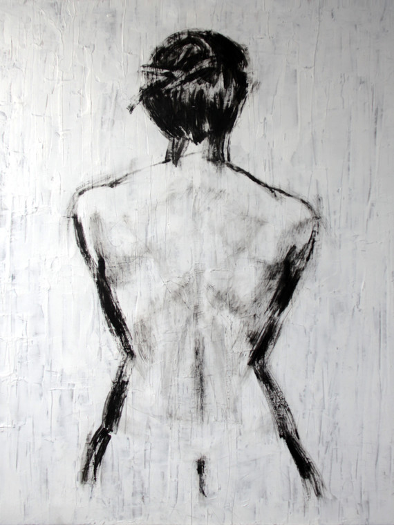 The woman standing against the wall