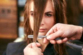 Women's haircut. hairdresser, beauty sal
