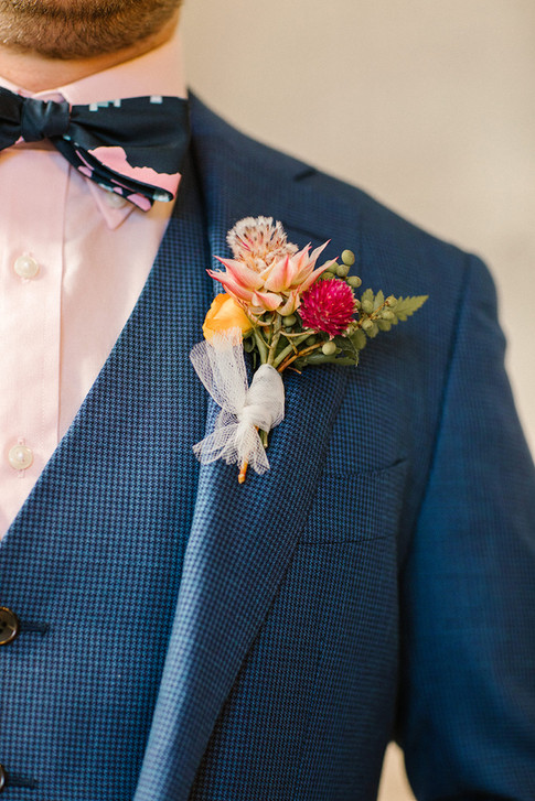 Pink and Navy Boutonniere