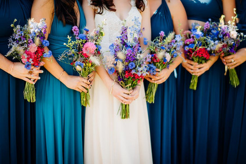 Purple, Pink and Blue Bridesmaid Bouquets