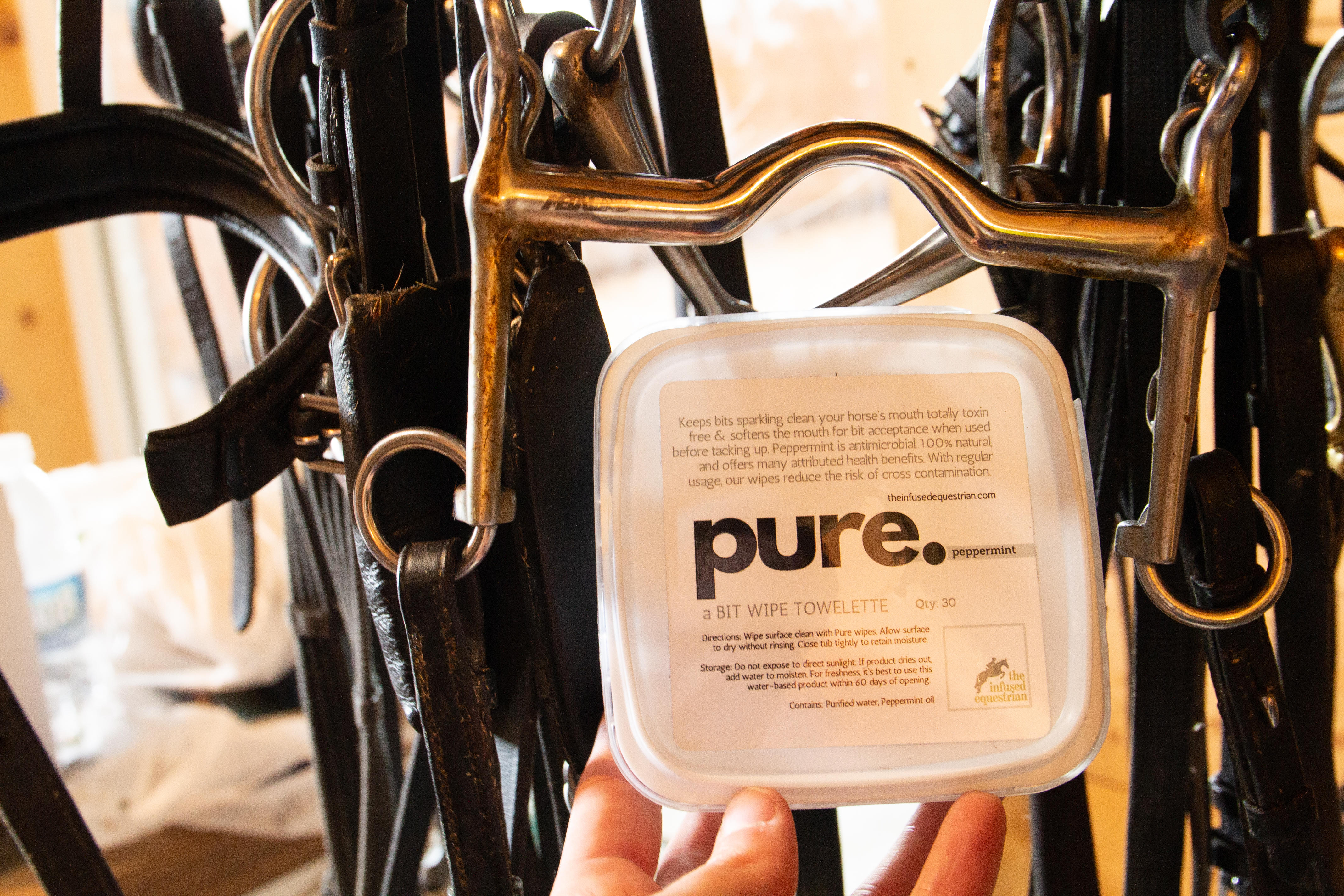 Pure Bit Wipes and Bits on Rack Closeup.