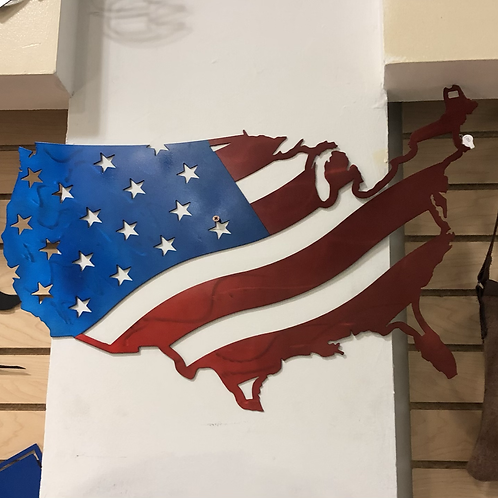 USA Waving Flag Map - USA map - USA flag - Waving Flag