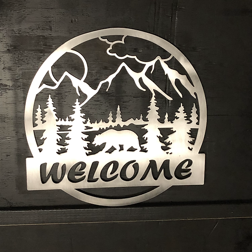 Welcome Bear Sign - Black Bear - Metal Art
