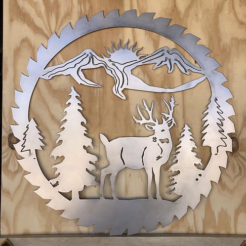 Sawblade Wildlife Scene - Deer - Trees - Mountains