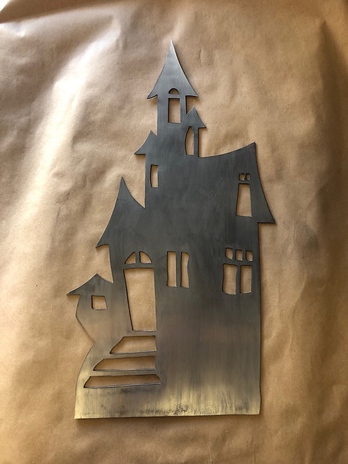 Haunted House metal sign 22""