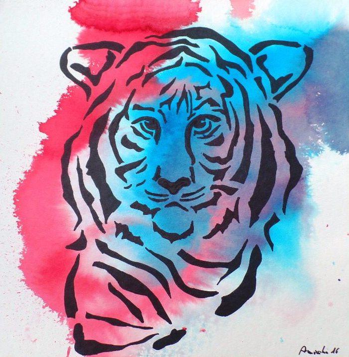 Tiger_(2016)-Mixed_Media_auf_Papier(300gm²)_30x30cm_Original