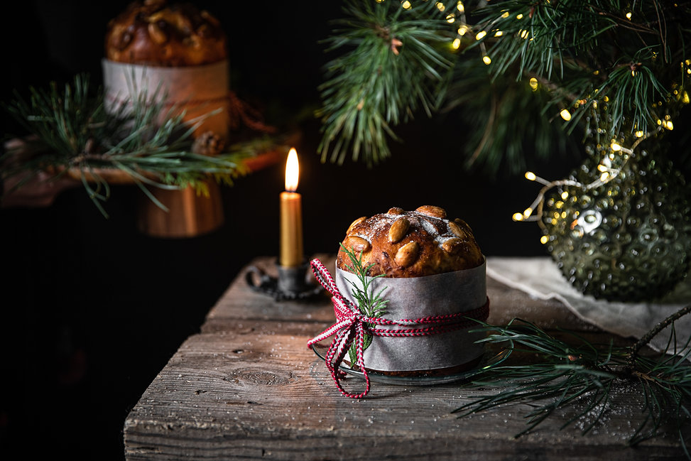 Homemade Panettone decorated as gift, vi