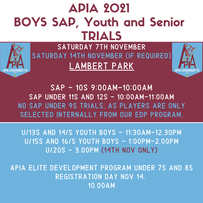 APIA 2021 BOYS SAP, YOUTH AND SENIOR TRIALS