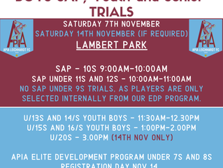APIA 2021 BOYS SAP, YOUTH AND SENIOR TRIALS