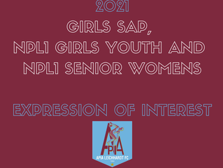 2021 EXPRESSION OF INTEREST. NPL1 Girls SAP, Youth and Senior Women's