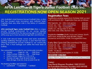 APIA LEICHARDT TIGERS JUNIOR FOOTBALL CLUB Inc Registration Form
