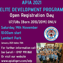APIA 2021 ELITE DEVELOPMENT PROGRAM OPEN REGISTRATION DAY U7/U8
