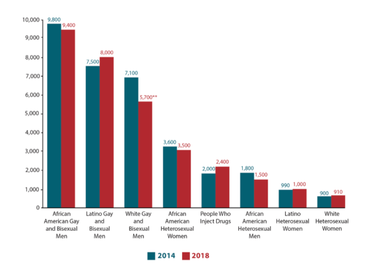 """This chart from hiv.gov depicts the number of """"New Infections by Race and Transmission Group U.S. 2014-2018."""" The graph shows that gay people of color are more adversely affected by this virus than white people and those communities are most at risk, but they often receive the least number of resources to help. Heterosexual individuals are less likely to contract HIV. However, as shown by the graph, straight people are also at risk for infection, and anyone can be exposed to AIDS. (Image Source: CDC, Estimated HIV Incidence and Prevalence in the United States 2014–2018)"""