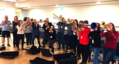 workshop music school musicians paul fisher brass trombone trumpets team building conference