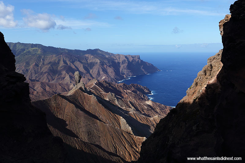 Volcanic coastline viewed from the Blue Point Post Box walk.