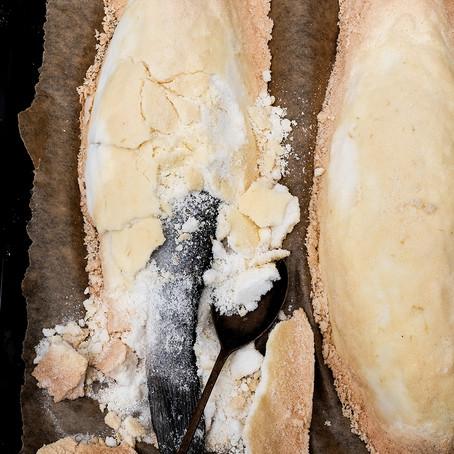 Sea bass in Salt & Lemon Zest Crust