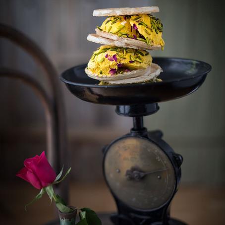 Persian Saffron Ice Cream with Crunchy Cream and Pistachio (Bastani Sonati)