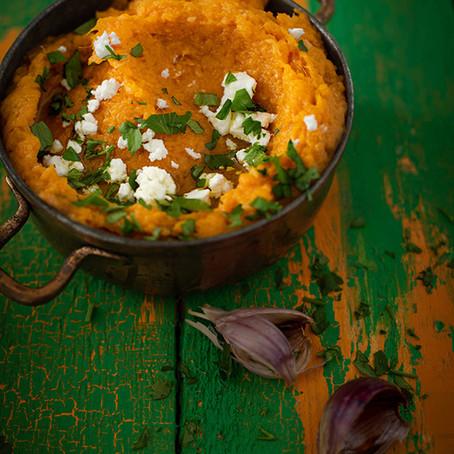 Roasted Sweet Potatoes & Garlic Mash