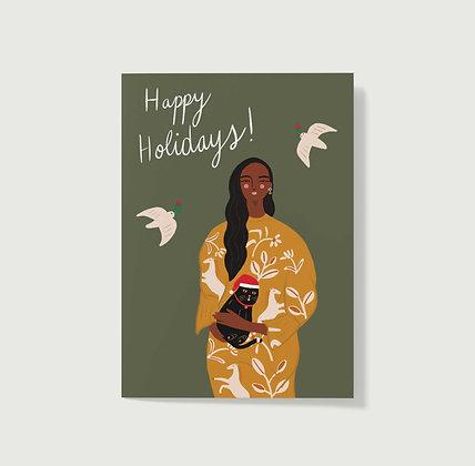Happy Holidays Cat Lady - Greeting Card