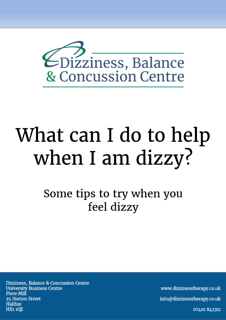 Dizziness, Balance & Concussion Centre - what can I do to help dizziness