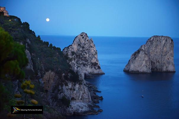 Moonrise over Il Faraglioni, Capri Italy