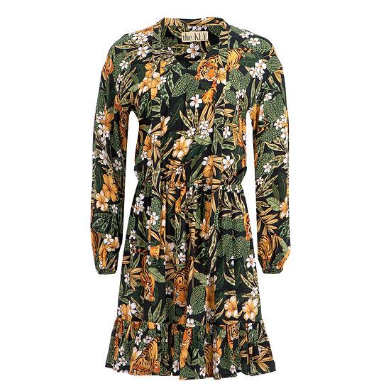 Sukienka wiskozowa tygrysy czarna zieleń