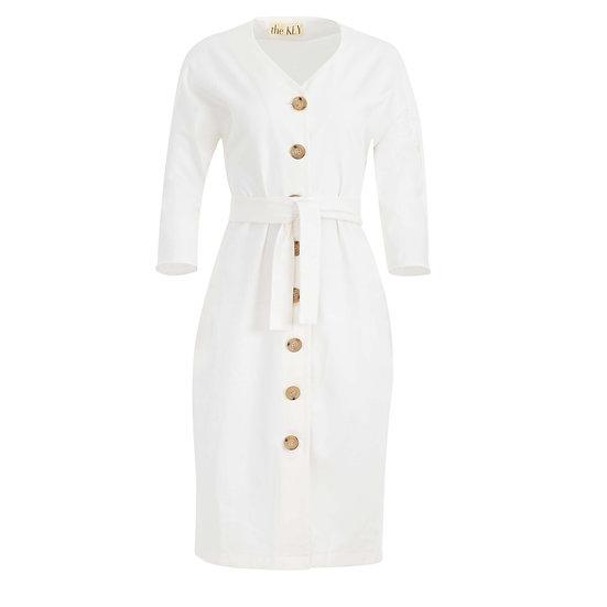 Bawełniana sukienka w kolorze białym na guzikach