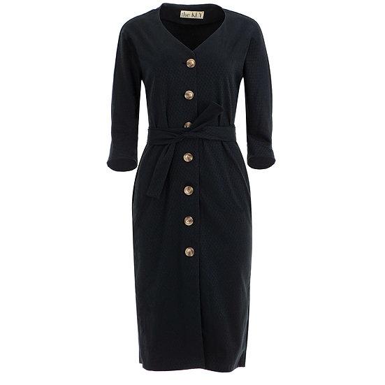 Bawełniana sukienka w kolorze czarnym na guzikach