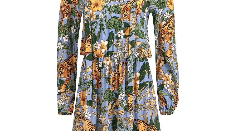 Sukienka wiskozowa błękitna  tygrysy