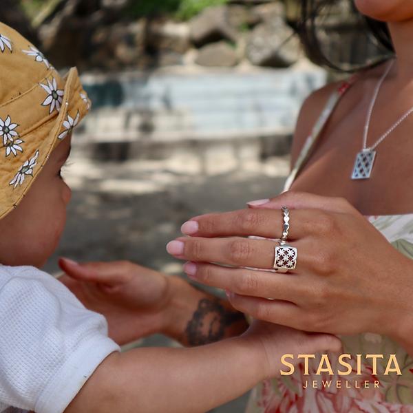 Sterling silver, Pasifika Frangipani ring, Samoan Jewellery