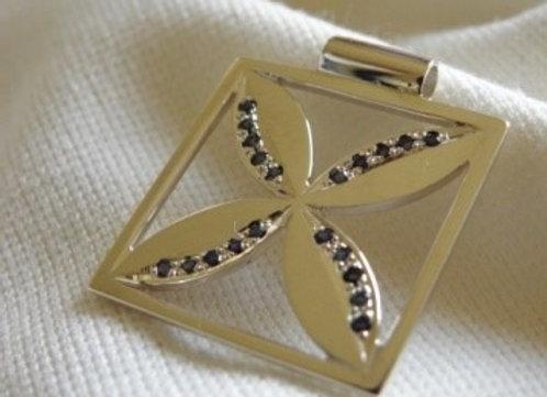 Frangipani and Sapphire Pendant