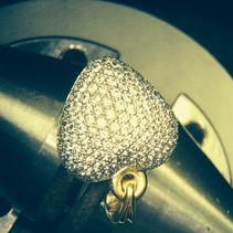 Puff heart pendant pave set with 142 brilliant cut diamonds