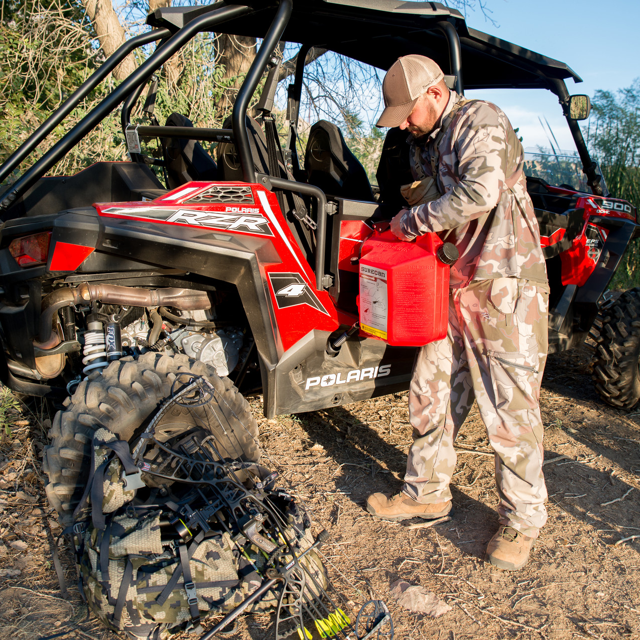 The SureCan is easy to use with any UTV and will not cause you to bend over and hold your gas can in an awkward position!